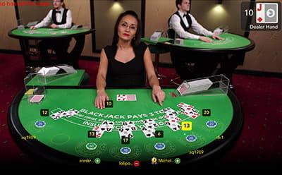 Live-Blackjack-Spiel online
